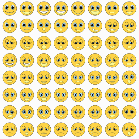 zestaw emotikonów smutny, rodzaj, szczęśliwy, ilustracji wektorowych