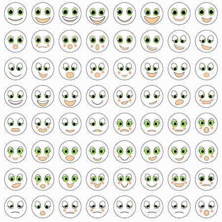 zestaw emotikonów z przyjemnością blush ilustracji biały wektor Ilustracje wektorowe
