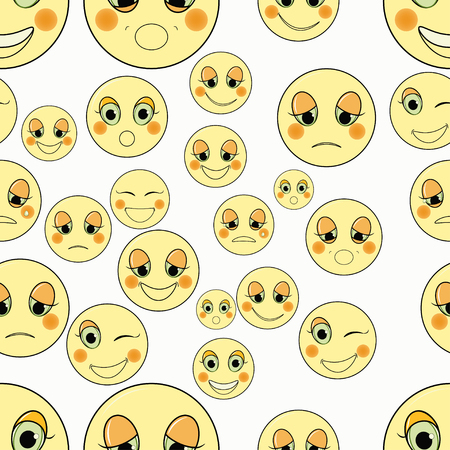 friendliness: set of emoticons sad, kind seamless vector illustration Illustration