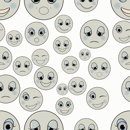friendliness: set of emoticons sad, kind, happy seamless monochrome vector illustration