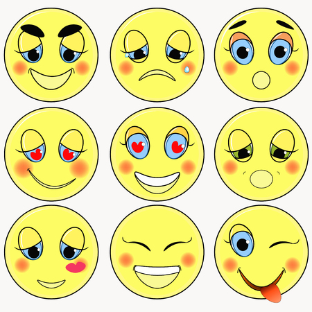 friendliness: set of emoticons sad, kind, love, happy vector illustration