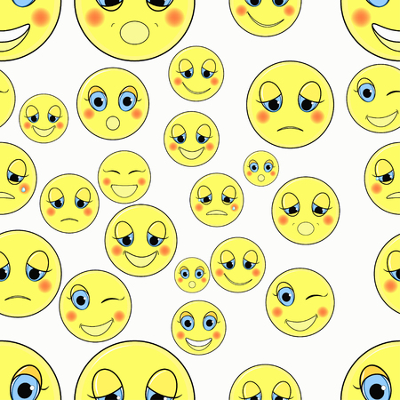 friendliness: set of emoticons sad,  happy seamless vector illustration