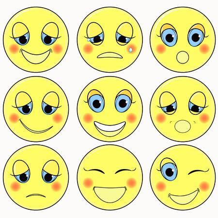 friendliness: set of emoticons sad, kind, happy vector illustration