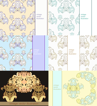 solemn: set floral pattern for a card vector illustration
