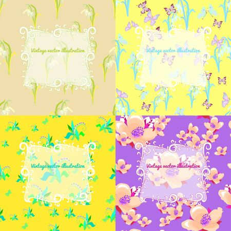 set of jasmine, butterfly, lily, yellow snowdrop for a card vector illustration
