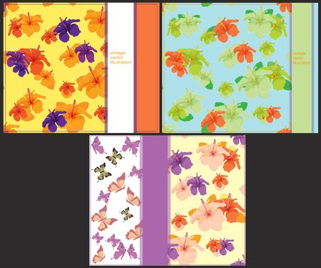 printing house: set the pattern bright to cards with butterflies and hibiscus vector illustration