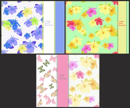 printing house: set the pattern for cards with butterflies and hibiscus vector illustration
