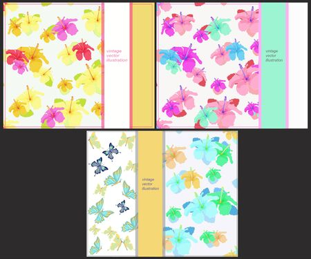 printing house: set the pattern for horizontal cards with butterflies and hibiscus vector illustration Illustration