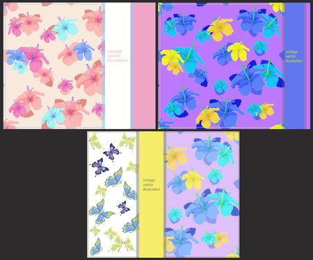 printing house: set the pattern to cards with butterflies and hibiscus vector illustration Illustration