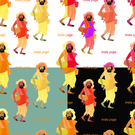 sadhu: set of seamless pattern man yoga vector illustration