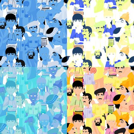 sadhu: set of seamless pattern Indian men, color vector illustration