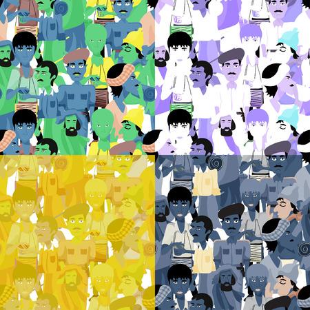 sadhu: set of seamless pattern Indian men, graphics vector illustration Illustration