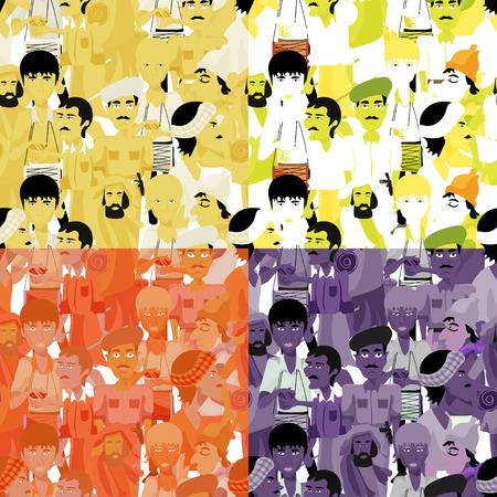 sadhu: set of seamless pattern Indian men, monochrome vector illustration