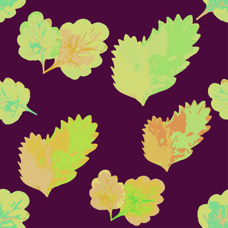 maroon background: Seamless pattern with leaves on a maroon background vector illustration