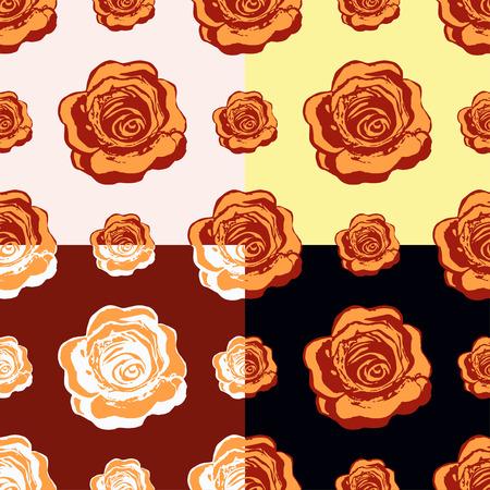 orange roses: set of seamless pattern of orange roses vector illustration
