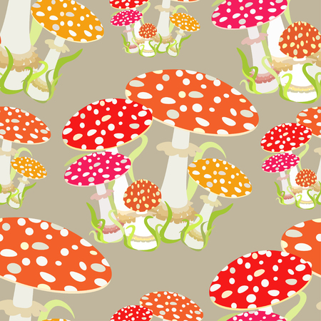 muscaria: seamless pattern with fly agaric, Amanita muscaria vector illustration Illustration