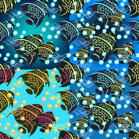 angelfish: set of angelfish seamless pattern on a blue background vector illustration Illustration