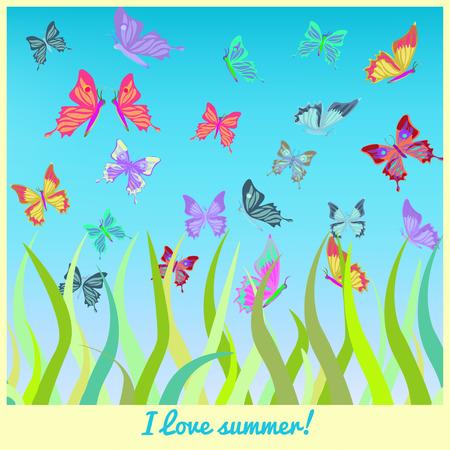 grass vector: butterflies fly above the grass vector illustration