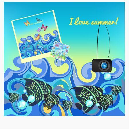 pygoplites diacanthus: fish photos at sea in summer vector illustration
