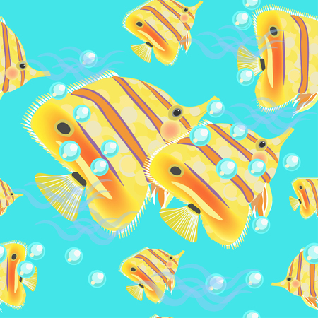 chaetodontidae: butterflyfish seamless pattern on a blue background vector illustration