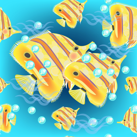 chaetodontidae: Seamless butterflyfish pattern on a dark blue background vector illustration Illustration