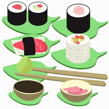 egg roll: sushi, rolls set of icon. vector illustration Illustration