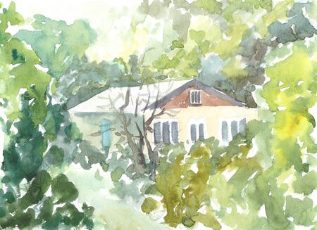 house in the woods in summer watercolor illustration