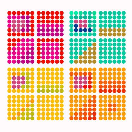 colores calidos: un conjunto de círculos de colores con colores cálidos ilustración vectorial Vectores
