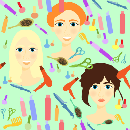 styler: seamless pattern with girls, comb, nail, hair styler on a green background vector illustration