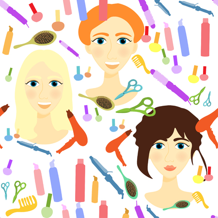 styler: seamless pattern with girls, comb, nail, hair styler vector illustration