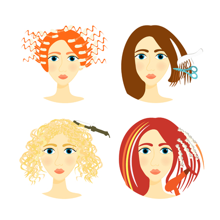 perming: set of girls for beauty salon and a barber shop vector illustration