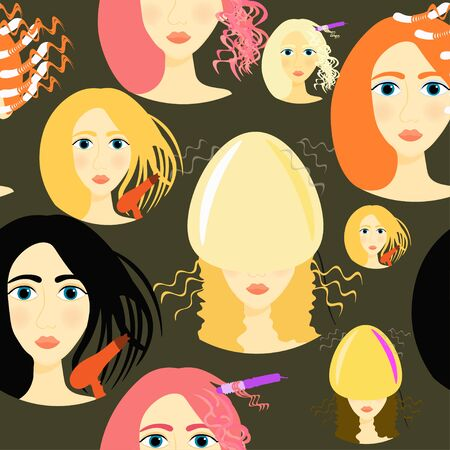 salon background: seamless pattern for girls a beauty salon on a dark background vector illustration Illustration