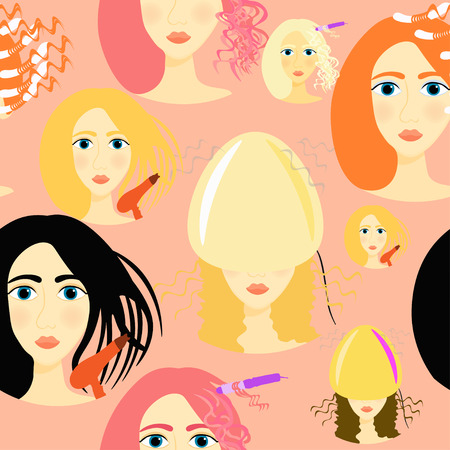 salon background: seamless pattern for girls a beauty salon on a pink background vector illustration