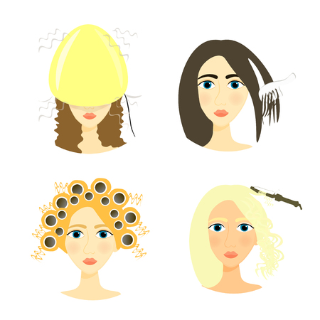 set of girls for a beauty salon and a barber shop vector illustration Illustration