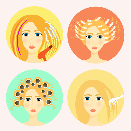 perming: set of icons for girls a beauty salon and a barber shop vector illustration