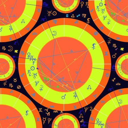 seamless pattern of yellow of natal of astrological charts  vector illustration