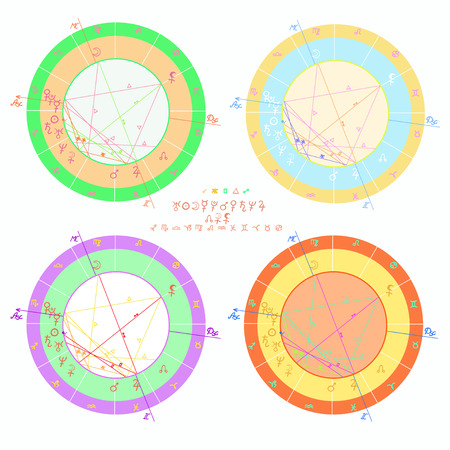 set of colored of natal astrology charts vector illustration