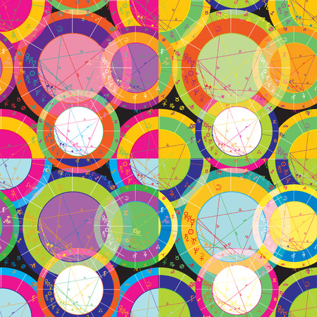 natal: set of of bright seamless pattern of natal of astrological charts vector illustration
