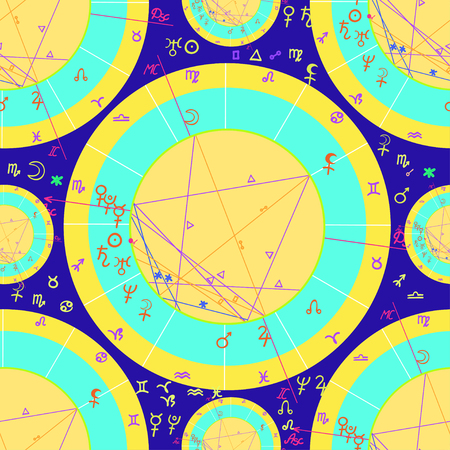 seamless pattern of natal of astrological cards on purple background vector illustration Illustration