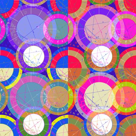 progression: set of seamless pattern of blue of astrological natal chart vector illustration