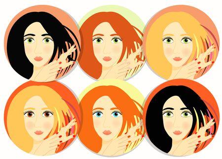 perming: set of girls, women icon vector illustration