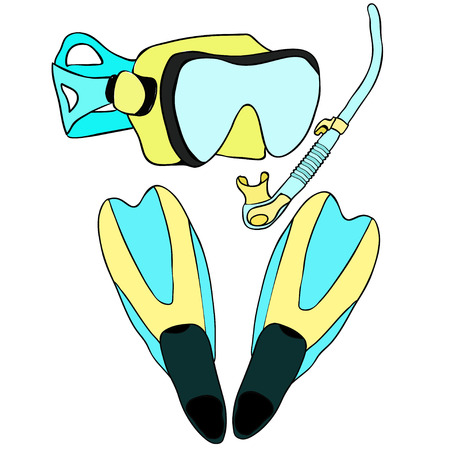 flipper: set with snorkeling of goods vector illustration