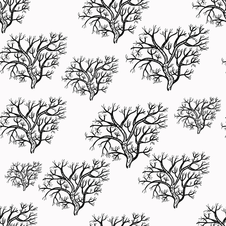 genealogical: seamless pattern silhouette of trees vector illustration Illustration