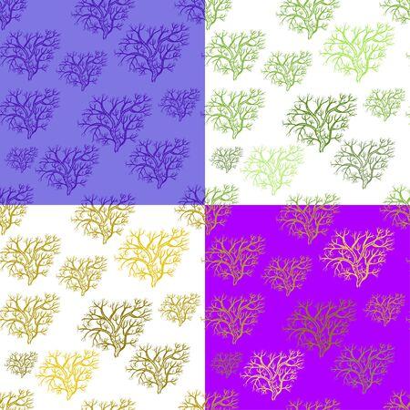 set di seamless sagoma di alberi nella illustrazione vettoriale inverno