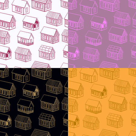 wooden houses: set of seamless pattern and wooden houses made of brick, stone graphics vector illustration Illustration