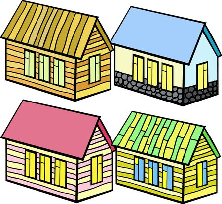 set of wooden houses and stone vector illustration