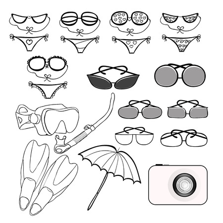 skin diving: set of goods for a beach holiday vector illustration Illustration