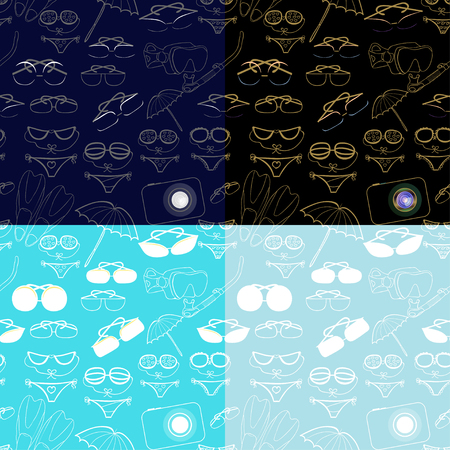 set seamless pattern products for a holiday at sea vector illustration