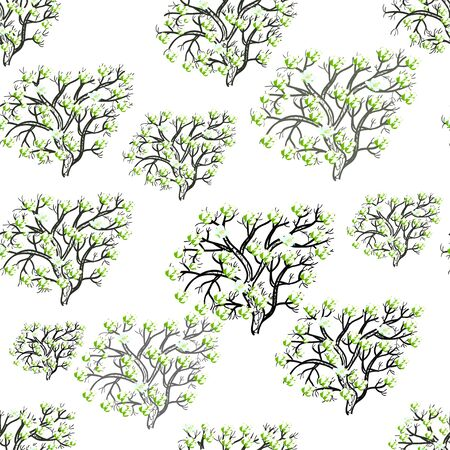allegory painting: seamless pattern silhouette tree with flowers on a white background vector illustration Illustration