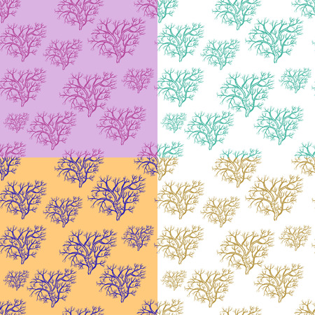 genealogical: set seamless pattern silhouette of trees in the winter vector illustration